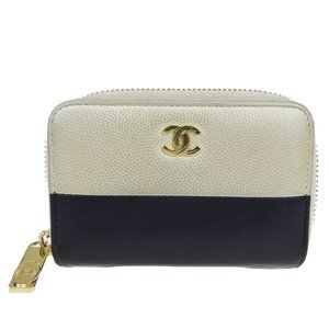CHANEL CC Logo Bifold Wallet Coin Purse Leather Bl
